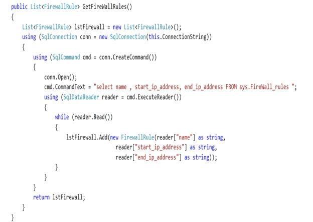 Fetching SQL Azure firewall rules programmatically