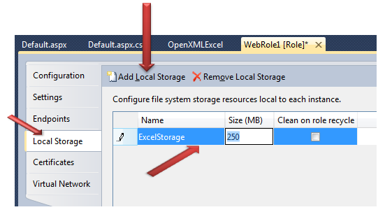 Creating and updating EXCEL file in Windows Azure Web Role using