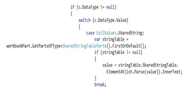 Reading EXCEL FILE in a collection using Open XML SDK 2 0