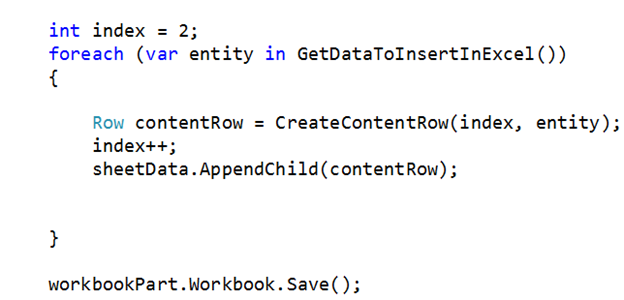 Inserting in Excel file from C# collection using Open XML