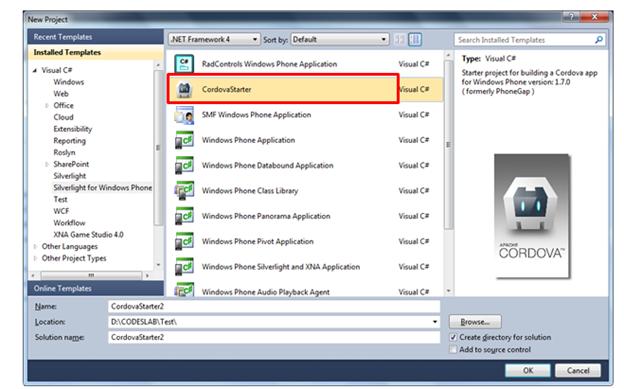 hello world windows phone application using phonegap or cordova